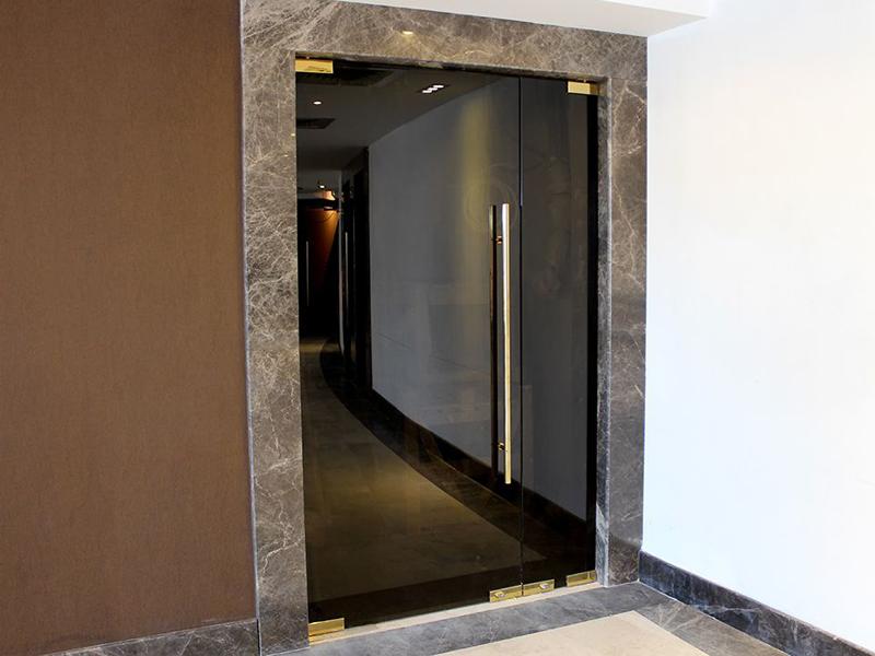 Черные стеклянные двери